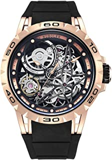 Huboler Men's Watch Skeleton Automatic Mechanical Stainless Steel Wrist Watches