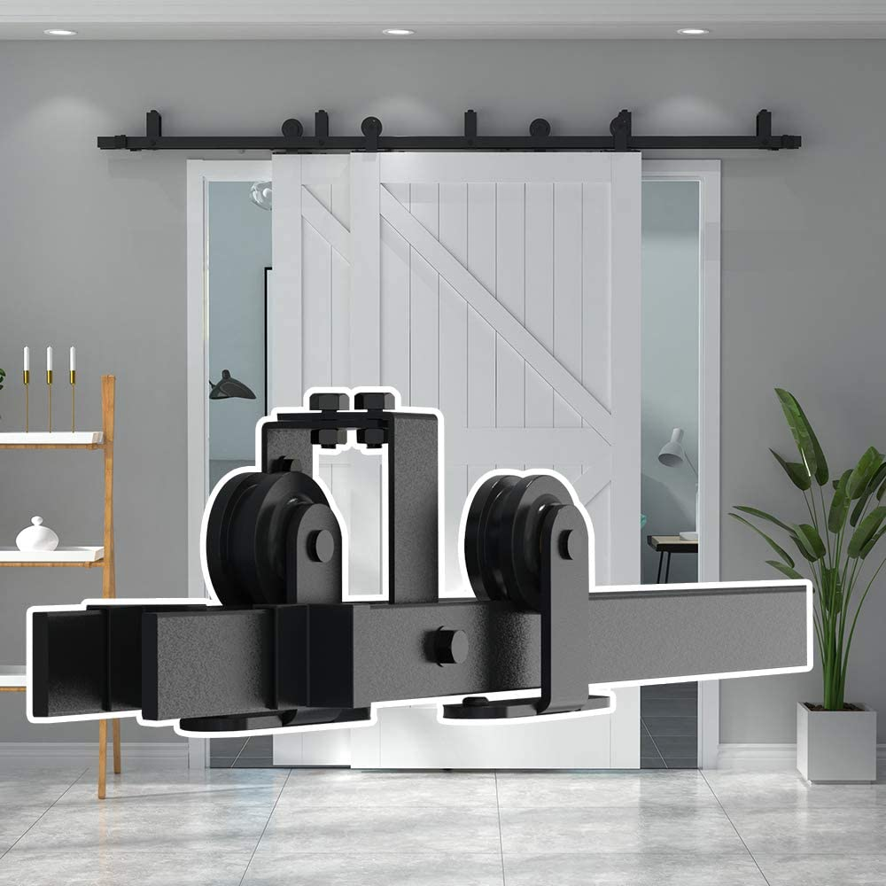 skysen 10FT Low Ceiling Heavy Duty Sliding Barn Door Hardware Double Track Bypass Double Door Kit Black Bypass Top Mount-2