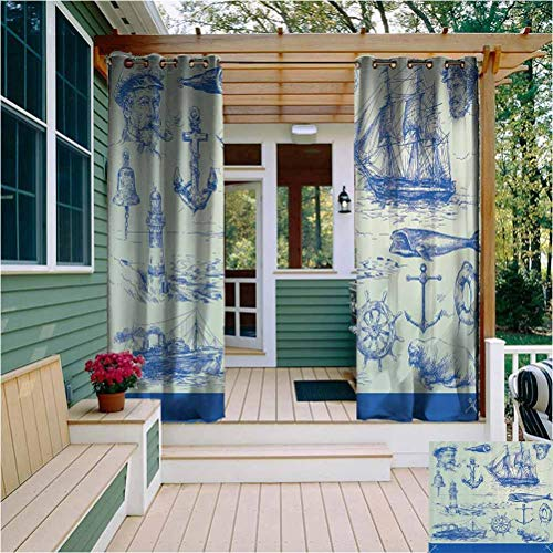 Nautical Anchor Outdoor Privacy Curtain for Pergola Whale Sail Boat Steering Wheel and Old Lighthouse Fishing Theme Sketchy Room Darkening Blue Eggshell W84 x L84 Inch