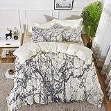 ropa de cama - Juego de funda nórdica, decoración del apartamento, motivos de roca de mármol turbio con figuras dinámicas de fractal Abstract Artsy Pr, juego de funda nórdica de microfibra hipoalergén