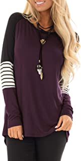 Women's Long Sleeve Blouse Crew Neck Stripe T Shirt Color Block Elbow Patch Tops