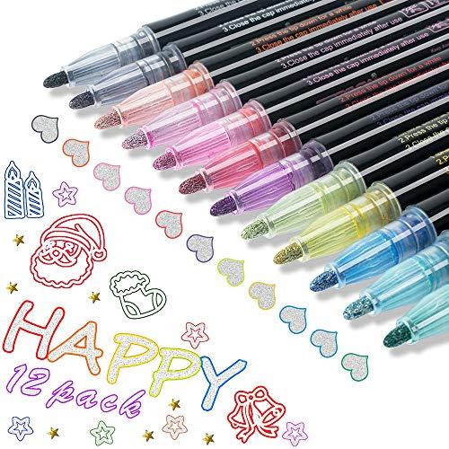 Neueste Outline Stift, 12 Farben Doppelte Linie Stift, Zweizeiliger stift,Line Marker, Outline Stift ,Wasserfester Stift Geschenkkarte Schreiben von ZeichenstiftenGeburtstagsgruß (Neueste 12 Farben)