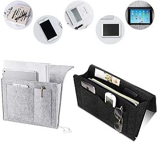 Bedside Caddy Pocket, Home Sofa Bedside Desk Felt Hanging Storage Organizer Bag Holder - Organizing Books and More Gadget for Remote Control, Phones, Magazines, Tablets 2 Pack