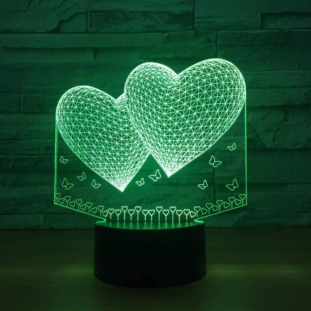 Directly managed store SPNEC Two Heart 3D Night Light,Lamp Colors 7 Led Lamp To Washington Mall