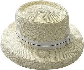 Womens Mini Straw Boater Hat Fedora Panama Flat Top Ribbon Summer