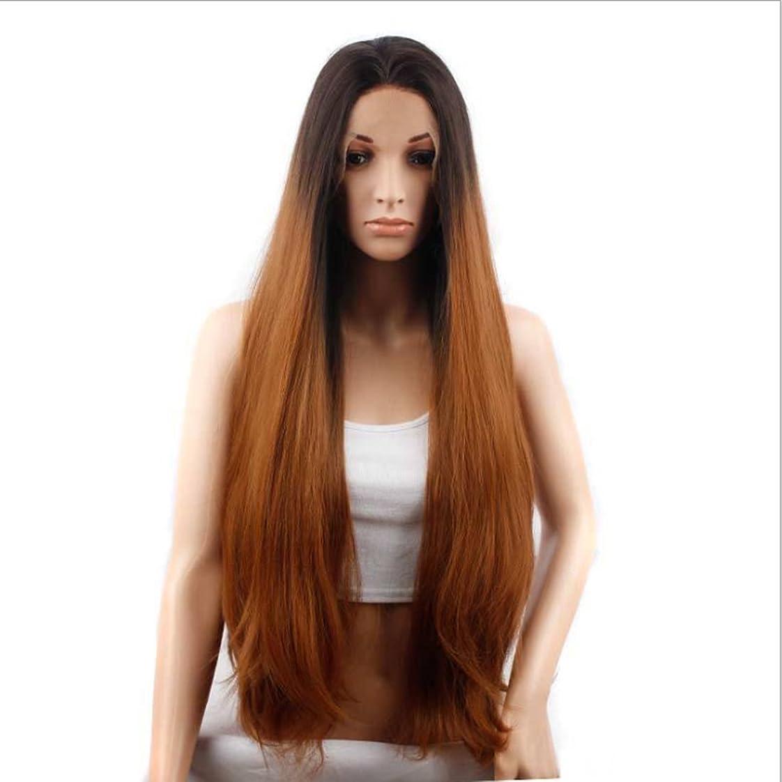 に応じてささいな燃やすDoyvanntgo ボブミディアムロングストレートウィッグ女性レースフロント人間の髪ミディアムバングレースヘアヘアギア非鉄染めレースウィッグ(28インチ/ 29インチ) (サイズ : 30inch)