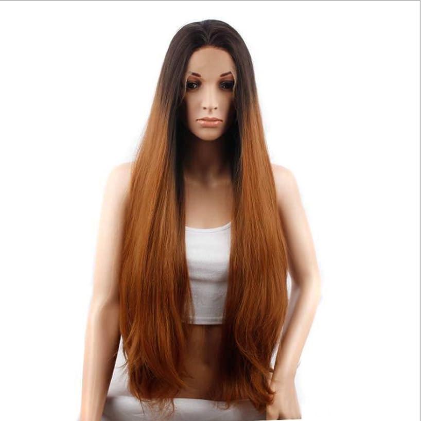 溶接ほめる取り付けDoyvanntgo ボブミディアムロングストレートウィッグ女性レースフロント人間の髪ミディアムバングレースヘアヘアギア非鉄染めレースウィッグ(28インチ/ 29インチ) (サイズ : 30inch)