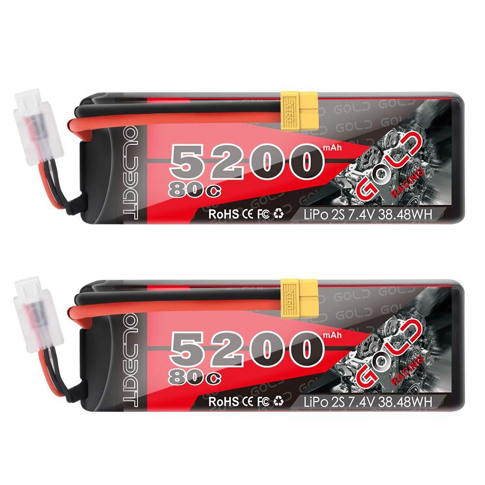 2 Baterias LIPO 7.4v 5200mah 80C 2S XT60 PLUG GOLDBAT