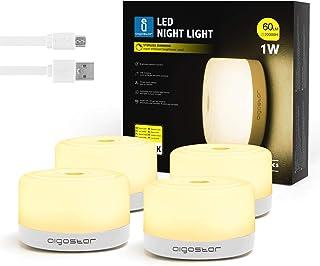 Aigostar Joe - Iluminación nocturna LED, lámparas inalámbricas imantadas con recarga mediante USB, iluminación regulable mediante control táctil, Luz calida 3000K. Sin instalación, ni pilas. 4 Uds