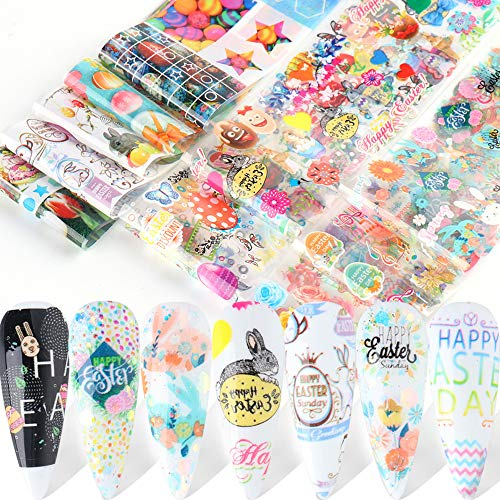 Easter Nail Art Transfer Foil Stickers Easter Egg Nail Decals Nail Supplies Cute Bunny Rabbits Chick Flowers Butterfly Design Spring Nail Sticker for Acrylic Nail Decorations Party Favors 10 Colors