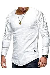 DressU Mens Pullover Slim Leisure Pure Color Oversized Long Sleeve Tees