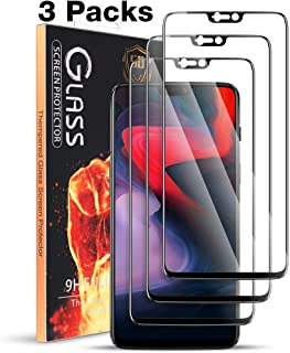 MEGIVEZ [3 Pack] Compatible for Oneplus 6 Screen Protector - Tempered Glass [Full Coverage] [Bubble-Free] HD Clear Anti Scratch Film for one 6 Plus Phone with Lifetime Replacement Warranty Black
