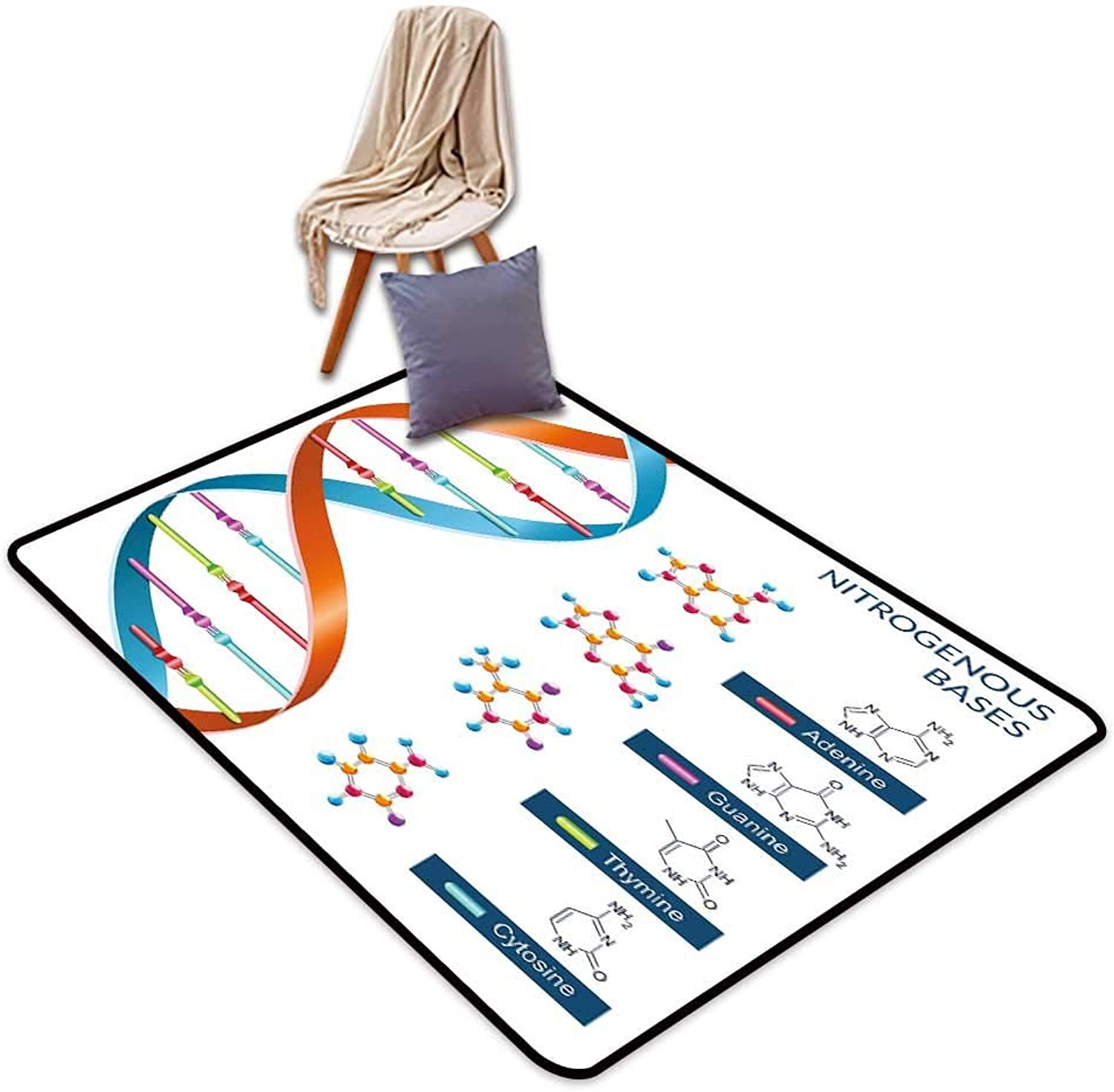 Indoor Super Absorbs Mud Doormat Educational DNA Bases Chemistry Biochemistry Biotechnology Science Spiral Symbol Genetic W4'xL6' Suitable for Family