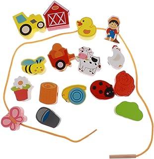 BAOBLADE 16pcs Wooden Cartoon Beads Threading & Lacing Kids Developmental Toys - Farm