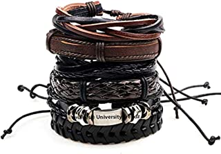 University Trendz Leather Base Metal Bracelets for Unisex Adult & Unisex Child