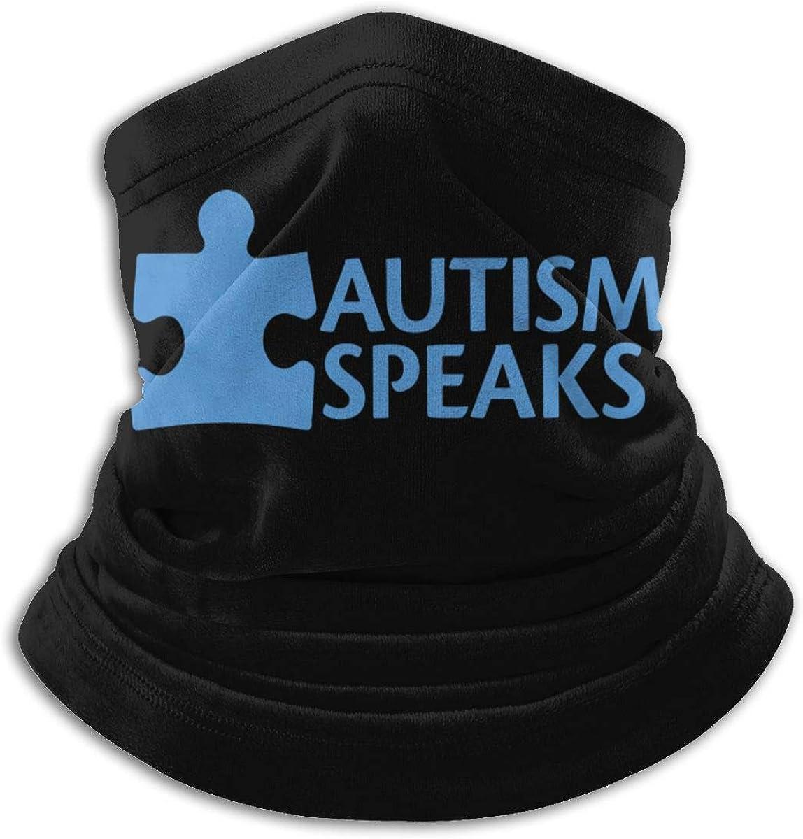 Autism Speaks Black Multi-function Neck Warmer Gaiter Polyester Neck Warmer Windproof Winter Neck Gaiter Cold Weather Scarf For Men Women