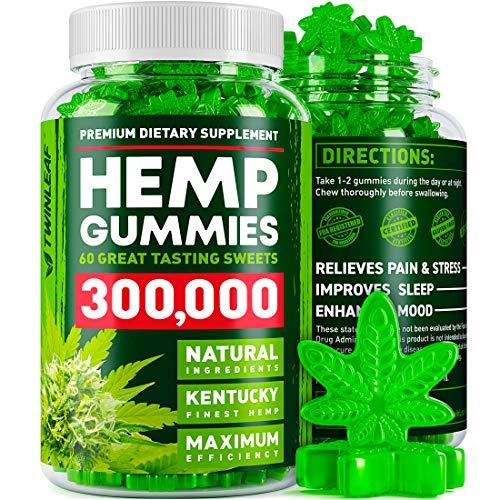 Hemp Gummies 300000 - Premium Stress & Anxiety Relief - Made in USA - 100% Natural & Safe Oil Gummies - Mood Enhancer & Immune Support - Rich in Vitamins B, E & Omega 3-6-9 - 60 PCS