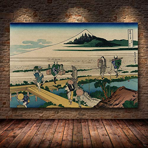 mmzki Estilo japonés Kanagawa Surf Lienzo Pintura Impresionista Cartel Arte de la Pared F Sala de Estar Katsushika Hokusai Cartel Decoración para el hogar F