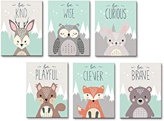 AEVIO Woodland Animals Wall Art Canvas Print Poster Deer Owl Rabbit Fox Bear Inspirational Quotes Art Decor for Living Room Bedroom Nursery Office(Set of 6 Unframed, 12x16 inches)