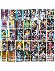 Qisen Carte Pokemon, Set di carte Pokemon, Carte da gioco dei cartoni animati, Carte da gioco Pokemon da 100 pezzi Carte da gioco GX per bambini con 95 carte Pokemon GX e 5 carte Mega Pokemon
