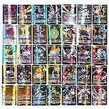 Zhangpu Ensemble de 200 pièces Cartes Pokemon GX Cartes pour Enfants Jeux de Cartes Pokemon Eholder Cartes Pokemon à Collectionner GX, Ensemble de Cartes Pokemon