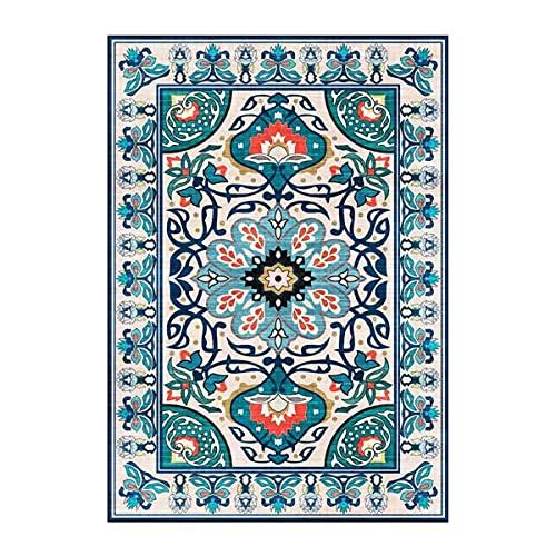 WFSH HSRG Alfombra de área estilo palacio europeo y americano alfombras de arte de flores azules para dormitorio, sala de estar, pasillo, cocina, baño, mesita de noche