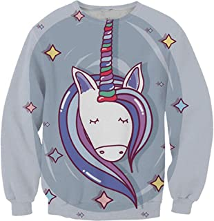 Girls Cute Unicorn Sweatshirt Hoodie with Rainbow Cloulds