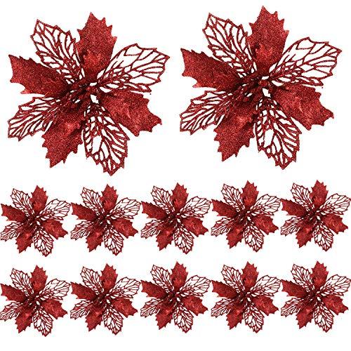 FUNNY HOUSE Christbaumschmuck Glitter Poinsettia 12 Stücke Weihnachtsschmuck Baumschmuck Künstliche Weihnachtsblumen Deko für Weihnachtsbaum Weihnachtskranz Ornamente (Rot)