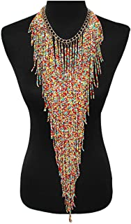 Bohemian Tassel Bib Necklace and Earrings for Women Chunky Pendant & Necklaces with Colorfull Beads Custome Jewelry Sets Party Bridal Gifts