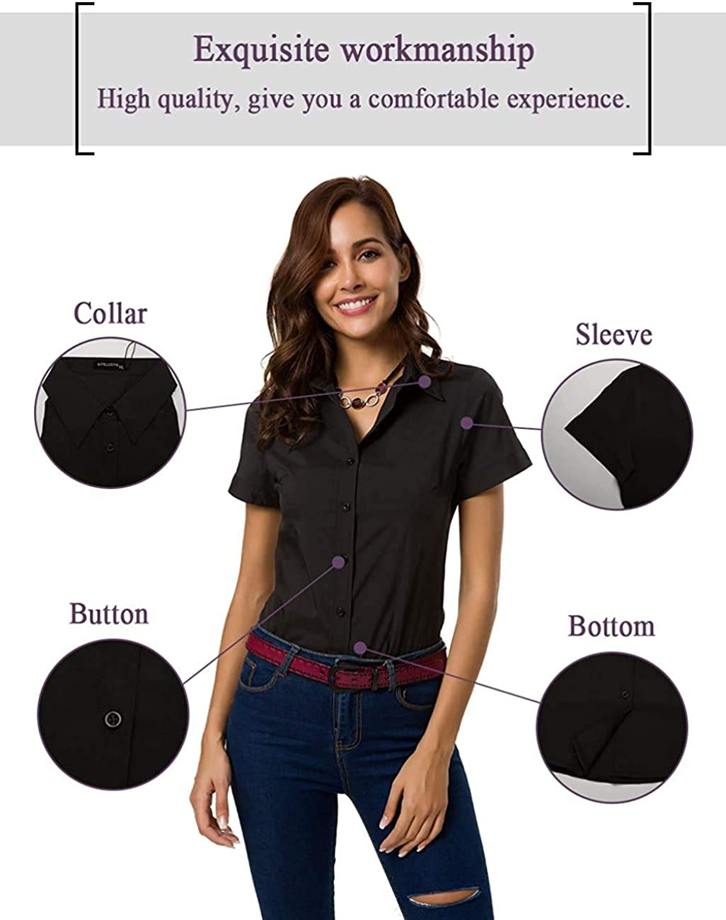 Atnlewhi Womens Button Down Shirts Short Sleeve Business Collared Work Office Formal Button Up Blouse Shirt