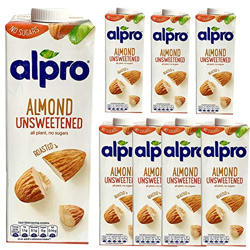 8 x 1 Litre Alpro Unsweetened Roasted Almond Milk Low Fat Vegan Drink