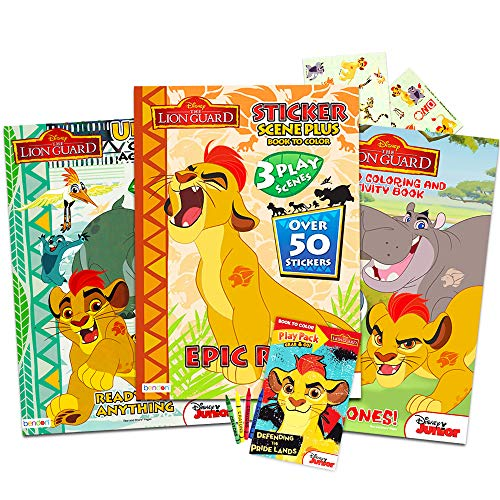 Disney Junior Lion Guard Coloring Book Bundle - 4 Lion Guard Books with Stickers, Posters, and More (Lion Guard Party Supplies)