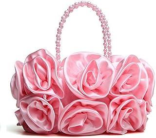 Clutch Bag,Ladies DIY Hand Made Flowers Evening Bag Shoulder Handbag Prom Bag for Wedding,Party, Dinner, Etc,Pink