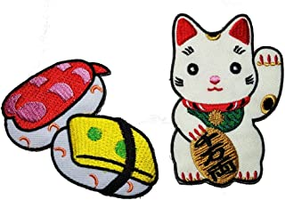 PP Patch Set Cute Pretty Sushi Japanese Food Cute Maneki-Neko Japan Japanese Lucky Cat DIY Embroidered Sew Iron on Patch Cartoon Logo Jackets Bags Jeans T-Shirt Backpacks