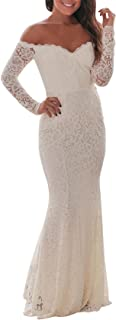 Best long off the shoulder white dress Reviews