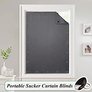 StangH Portable Blackout Curtain Blinds - Adjustable Thermal Insulated Shade Drapes with Suckers for Bedroom/Kitchen/Roof Window, Grey, W51 x L78inch(130 x 198cm), 1 Panel