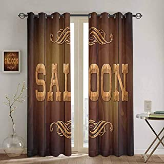 Homrkey Saloon Decor Collection Blackout Curtain Wooden Sign Saloon and Curly Ornaments on a Wood Wall Classic American Bar Image Print Fabric Curtain W42 x L84 Inch Brown