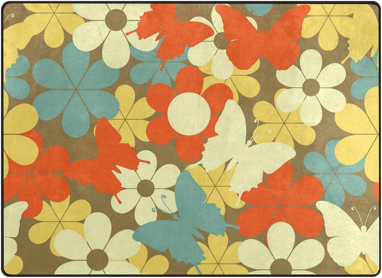 FAJRO colorful Flowers and Butterflies Rugs for entryway Doormat Area Rug Multipattern Door Mat shoes Scraper Home Dec Anti-Slip Indoor Outdoor
