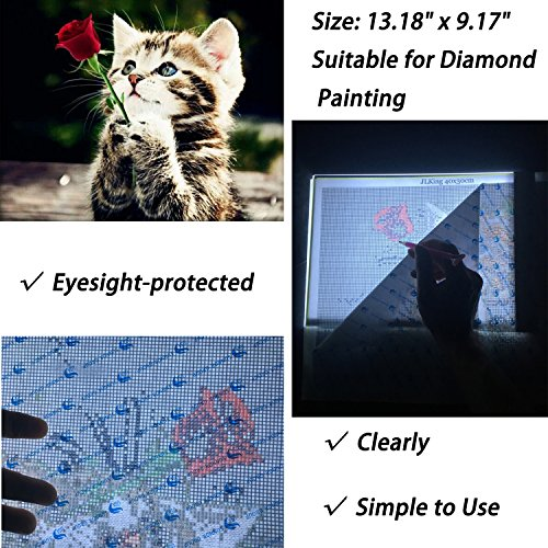 A4 LED Light Tablet Board Pad for DIY 5D Diamond Painting for Adults by Number Kit,Artcraft Tracing Light Table for Artists,Drawing, Sketching, Animation