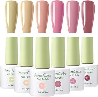 AwsmColor Gel Nail Polish Set - Popular Nudes Series 6 Colors Gel Polish Set, Soak Off UV LED Lamp Nail Gel Kit Required Gel Base Top Coat DIY Salon Nail Art Beginners Home Gel Manicure Kit