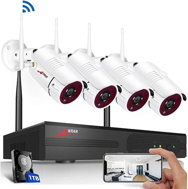 【2020 Nuevo】 ANRAN Kit de Cámaras Seguridad WiFi Vigilancia Inalámbrica Sistema 4CH 1080P con 4Pcs Cámaras de videovigilancia 2MP Interior y ExteriorIP66 ImpermeableDetección de Movimiento1TB