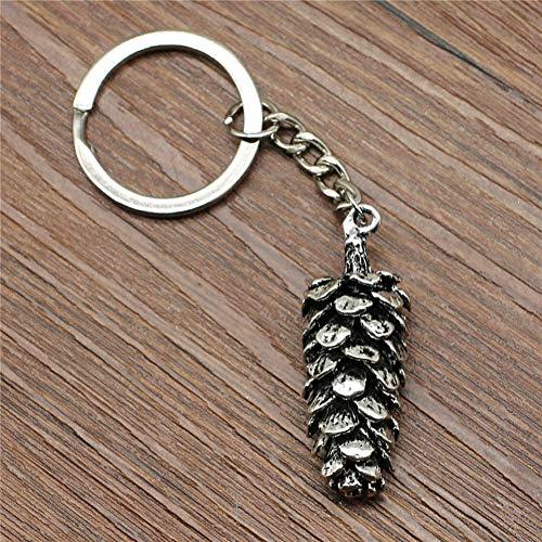 YCEOT sleutelring Big 3D Pine Nuts sleutelhanger 41 x 14 mm verzilverde mode handgemaakte metalen sleutelhanger souvenir geschenken voor vrouwen
