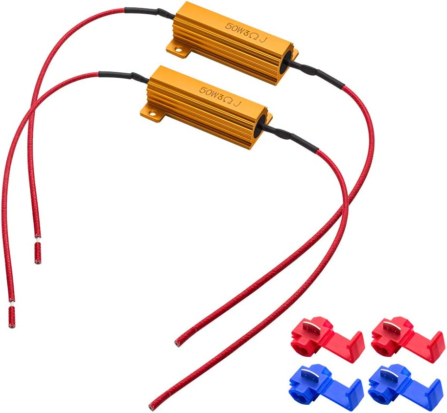 Safego 2-Pieces 50W 3Ohm Directly Ranking integrated 1st place managed store Load LED Resistors -