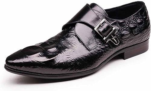 GLSHI Hommes Chaussures Britannique Pointu Boucle Oxford Crocodile Motif Chaussures Faible Cut Chaussures Affaires Décontracté (Couleur   Noir, Taille   44)