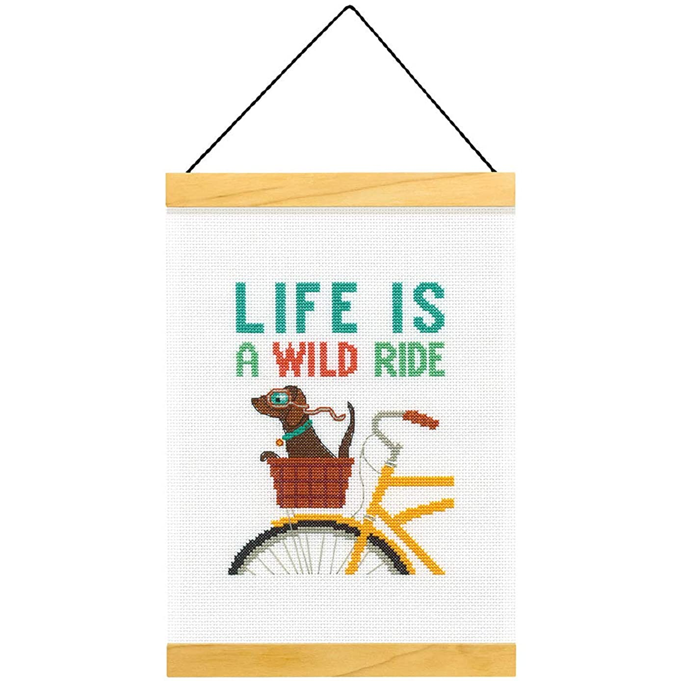 Dimensions 'Wild Ride' Counted Cross Stitch Kit for Beginners, 14 Count White Aida, 8''L x 11.5H''