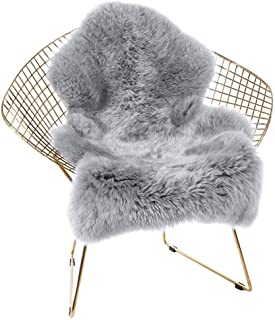 HEBE Sheepskin Rug Faux Soft Fake Sheepskin Fur Chair Couch Cover Grey Area Rug Runner for Bedroom Floor Sofa Living Room 2'x4' Feet Large, Gray