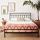 Mellow Mission - 10 Inch Metal Platform Bed with Headboard, Patented Wide Steel Slats, Easy Assembly, King, Black