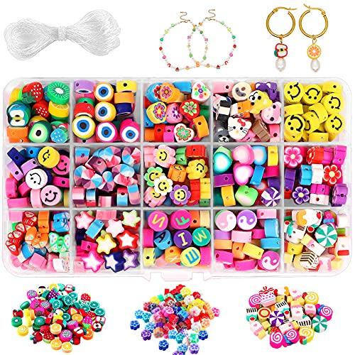 ikasus Cuentas para manualidades, 300 unidades de cuentas coloridas para joyas, manualidades, collares, manualidades, regalos para pulseras, diademas, collares y pulseras.