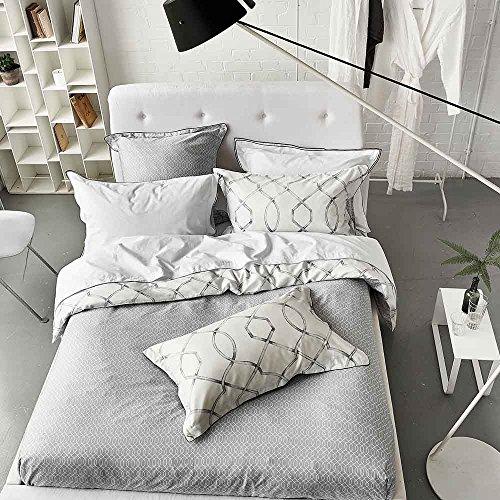 Designers Guild Rabeschi Housse de Couette, Satin de coton, Graphite, 140x200 cm