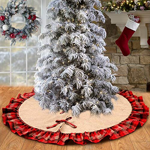 Christbaumdecke Weihnachtsbaumdecke 120cm Tannenbaum Decke Kariertes und Sackleinen Baumdecke Weihnachtsbaum Rock Weihnachts Dekorationen für Einkaufszentren, Supermärkte, Schaufenster, Häuser